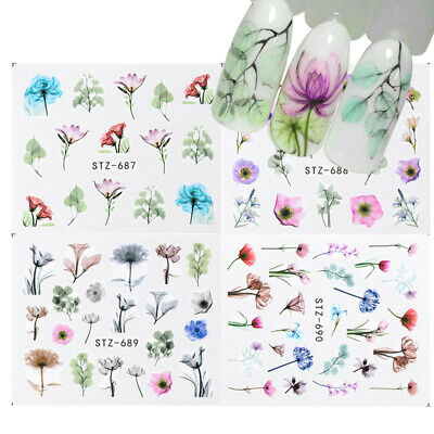 10x 3D Nail Art Water Decals Transfers Stickers Summer Flower Manicure Decals