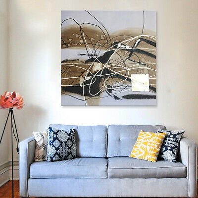 New Framed Modern Abstract Oil Painting Wall Art Home Decor Handmade Lines