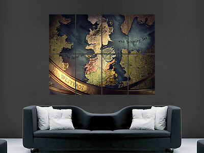 Game Of Thrones Poster Map Tv Series Image Huge Large Wall Art