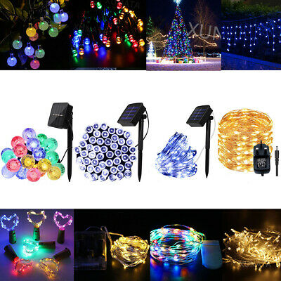 Solar Battery Copper Silver Wire 20-500 LED String Fairy Lights Home Xmas Decor