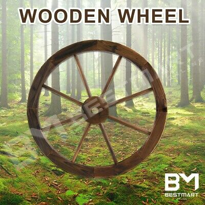 New Wooden Wheel Large Garden Rustic Decor Feature Outdoor Wagon