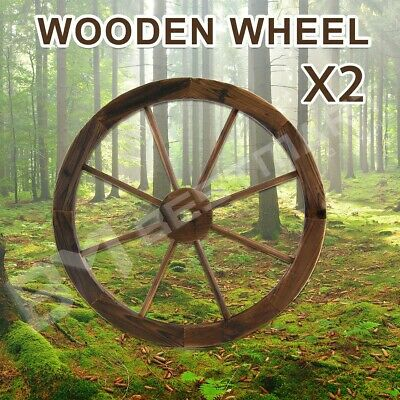 Garden Large Wooden Wheel x2 Decoration Outdoor Decor Feature Wagon Wheels