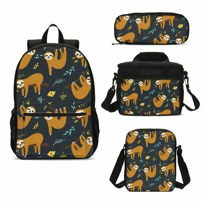 Cute Cartoon Sloth Big Backpack Insulated Lunch Box Shoulder Bag Pencil Case Lot