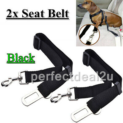 2x DOG PET CAR SAFETY SEAT BELT HARNESS RESTRAINT ADJUSTABLE LEAD TRAVEL CLIP UK