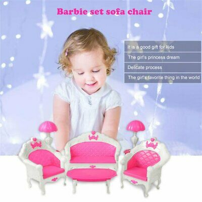 6Pcs Toys For Barbie Doll Sofa Chair Couch Desk Lamp Furniture Set Disassembled#