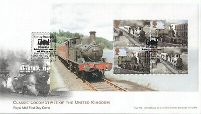 (32906) GB FDC Classic Locomotives FULL Booklet Pane STAMPEX London N1 2014