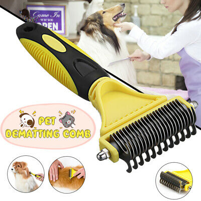 Pet Stainless Steel Fur Brush Dog Hair Shedding Flea Trimmer Grooming Rake Comb