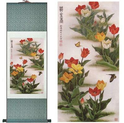 Subtle Flowers Art Asian Chinese Japanese Canvas Scroll Hanging Wall Art
