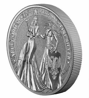 Britannia Germania 2019 The Allegories  5 Mark 1 Oz Pure Silver Bu Round Capsule