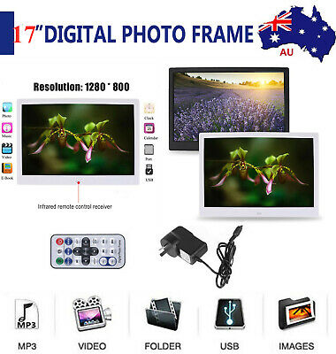 """17"""" HD Digital Photo Frame LED Picture 1080p Mp4 Mp3 Movie Player Remote Kf"""