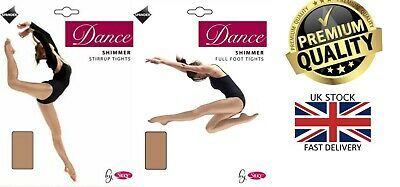 New Women's Silky Shimmer Dance Tights Full Foot or Stirrup Foot Size S-XL
