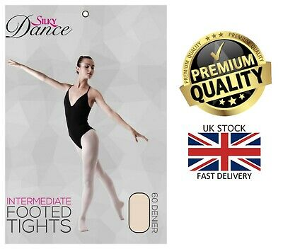 New Girls Footed 60 Denier Intermidiate Ballet Dance Silky Tights 3-13 Years