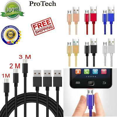 Heavyduty Braided Micro USB Charger Charging Lead Data Sync Phone Cable 1M 2M 3M