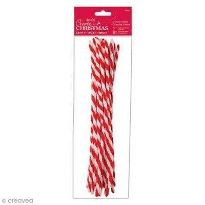 Docrafts Candy Stripe Chenille Stems 20 Pack - Christmas Craft Accessories