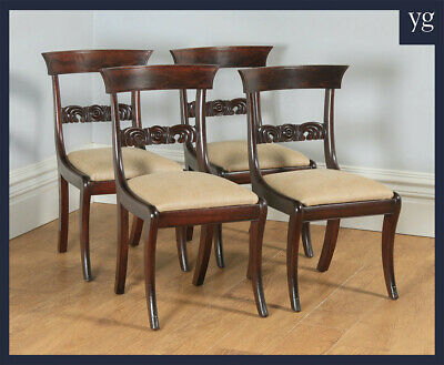 Antique English Georgian Regency Set Four Flame Mahogany Bar Back Dining Chairs