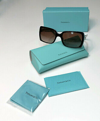 e1a0cac1421e Tiffany & Co TF4047 8055/3C Black / Blue Austrian Crystals Flower  Sunglasses NEW