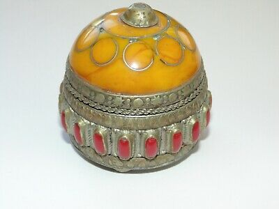 Antique Ethnic Tribal Vintage Brass Ornate Domed Trinket Jewelry Ring Box