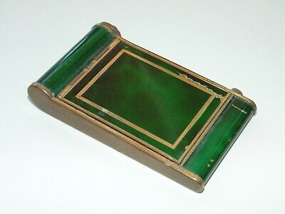 Vintage RARE French Art Deco Green Enamel Gold Metal Pop Up Compact Mirror Box
