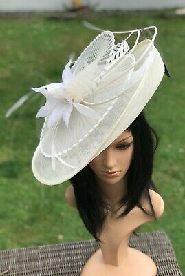 Suzanne Bettley Ivory Disc Hatinator Hat Wedding Formal Occasion Racing Feathers