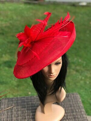 Suzanne Bettley Red Disc Hatinator Hat Wedding Formal Occasion  Feathers