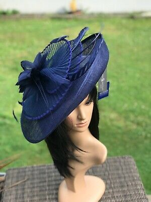 Suzanne Bettley Navy Blue Disc Hatinator Hat Wedding Formal Occasion  Feathers