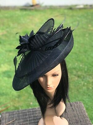 Suzanne Bettley Black Disc Hatinator Hat Wedding Formal Occasion  Feathers
