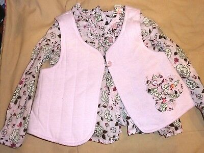 First Impressions pink flower long sleeve blouse with matching rev. vest s:24mo.
