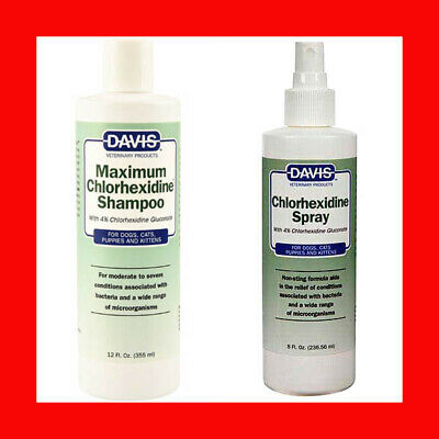 Davis Maximum 4% Chlorhexidine Shampoo 12 oz + Chlorhexidine Spray 8 oz stronger