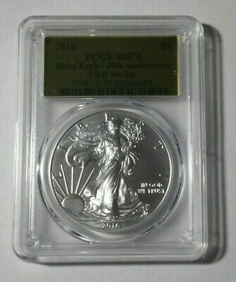 😃2016 American Silver Eagle First Strike 30th Anniversary PCGS MS70 GOLD LABEL