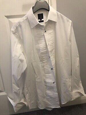 """Taylor & Wright White Long Sleeved Formal Suit Shirt Cuff Links 15"""" 15 Inch Men"""