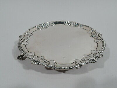 Georgian Salver - Antique Shell Bead Tray - English Sterling Silver - Rugg 1769
