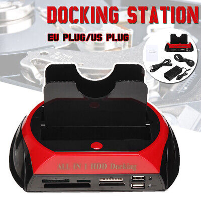 "2.5""3.5"" Dual Slots IDE SATA HDD Docking Station Hard Drive Disk USB Card Reader"