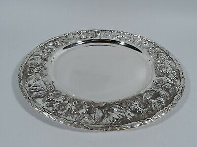 Kirk Plate - 38 - Antique Dinner Charger Repousse - American Sterling Silver