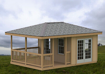 14' X 14' Double Hip Roof Gazebo Building Plans - Perfect for Hot