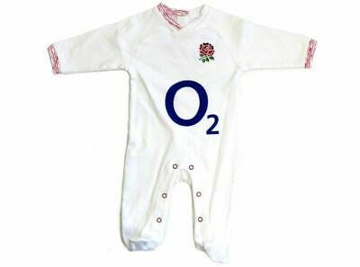 Official England Rugby RFU O2 Baby Sleepsuit 0-3, 3-6, 6-9, 9-12, 12-18 Months