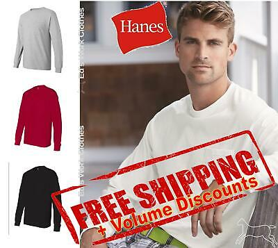 Hanes Mens Blank Cotton Long Sleeve T Shirt with a Pocket 5596 up to 3XL