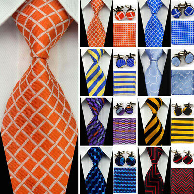 Mens Grooms Silk Tie Sets Wedding Necktie Cufflinks Hanky Pocket Square Ties Men