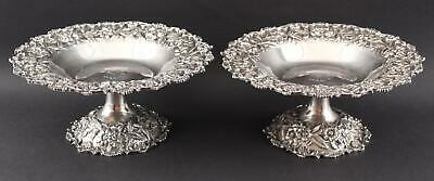 Pair Antique S KIRK & SON INC Sterling Silver Rose Flower Repousse Compotes, NR