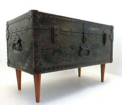 1946 Miller Coffee Table Trunk Military Army Footlocker Cabinet Storage Case