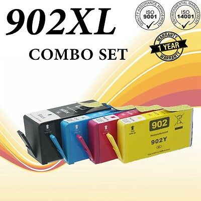 4 Pack #902 XL Ink Cartridge Set for HP OfficeJet Pro 6960 6968 6970 6975 6978