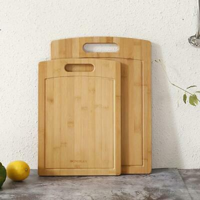 Bamboo Chopping Boards for Kitchen Large Serving Cutting Board Set Juice Grooves