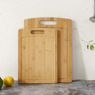 Bamboo Cutting Boards for Kitchen Large Serving Chopping Board Set Juice Grooves