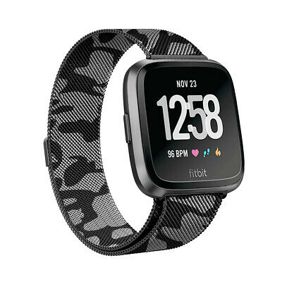 For Fitbit Versa Strap Replacement Milanese Camouflage Band Stainless Steel