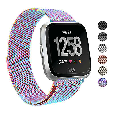 For Fitbit Versa Strap Replacement Milanese Band Stainless Steel Withe Diamonds