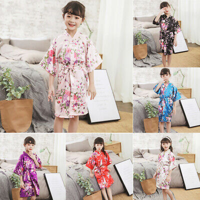 Toddler Baby Girls Floral Silk Satin Kimono Robes Bathrobe Kid Sleepwear Clothes