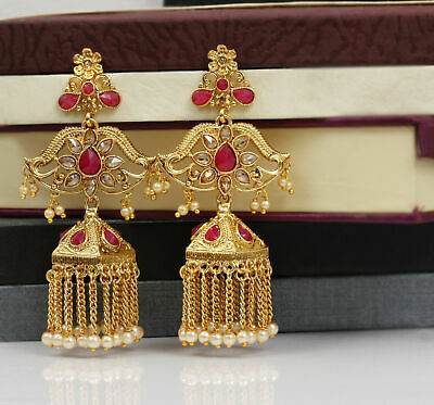 Indian Bollywood Gold Plated Ruby Stone Jhumka Jhumki Earrings Women's Jewelry