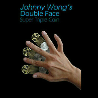 Double Face Super Triple Coin (Morgan Dollar) by Johnny Wong Close up Magic Fun