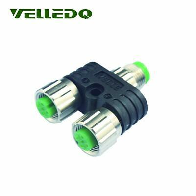 VELLEDQ M12 Sensor Splitter 4Pin Male/Dual 3Pin Female 2-way Sensor Connector