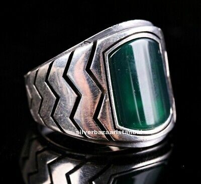 Turkish Jewelry 925 Sterling Silver Zigzag Green Agate Aqeeq Mens  Ring ALL SİZE