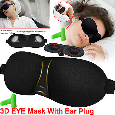 3D Soft Padded Blindfold Blackout Eye Mask + Ear Plugs Travel Rest Sleep Aid